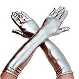 DreamHigh Women's 17' Long Satin Cosplay Finger Gloves Silver
