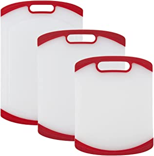 Sabatier 5234299 3-Piece All-Purpose Non-Slip Plastic Cutting Board Set with Handles, Assorted Sizes, White/Red