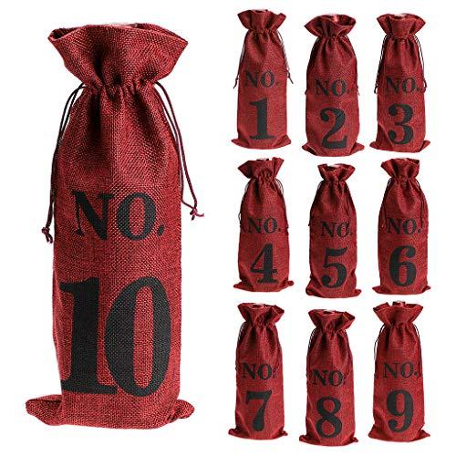 BSTKEY 10 stuks jute wijntassen met trekkoord - genummerde wijnfles geschenkzakje, herbruikbare jute wijn trekkoord tas voor feest, kerst, bruiloft Rood