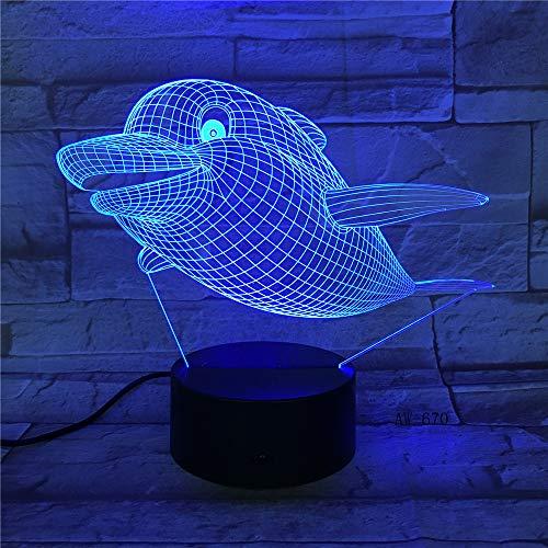 Meerestier Fisch Delphin Hai Gradient Nachtlicht 3D LED USB Tischlampe Kinder Geburtstagsgeschenk Nachtzimmer Dekoration
