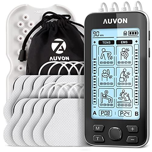 AUVON Electroestimulador TENS de 4 salidas, TENS EMS para terapia de alivio del dolor con masajeador de pulso eléctrico de 24 modos, 10 piezas electrodos premium de 2