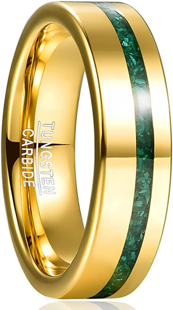 NUNCAD Men's 6mm Gold Tungsten Wedding Bands with Crushed Green Created-Opal/Malachite Inlaid High Polished Finish Size 6-12