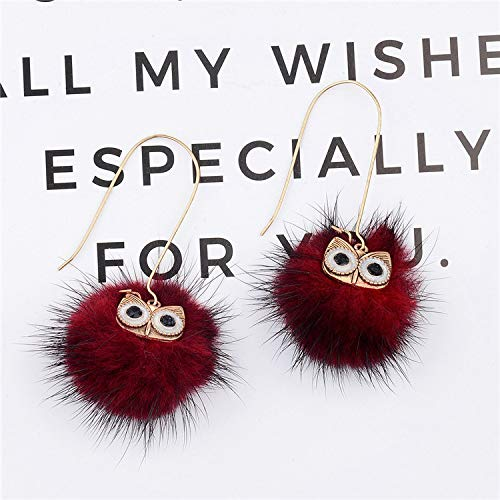 Lindo búho pendientes simple moda lana bola pendientes exquisito a juego pendientes hechos a mano accesorios Rojo