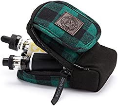 Vape Carrying Case for Travels - Secure, Organized, Premium Vape Bag - Fits Medium Mechanical Box Mods, e-Juice, Battery, Tank Holder & Accessories - Wick and Wire (Stash Green Plaid)