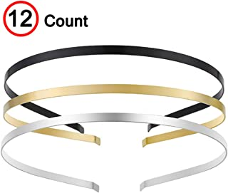 Smooth Metal Headbands with 3 Colors Black Gold Silver Plated Hairband Head Bands Pack of 12