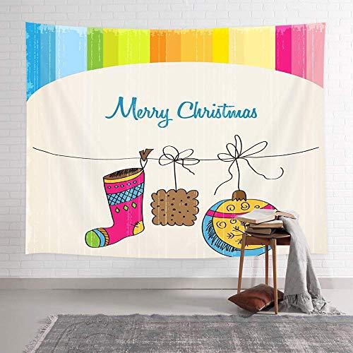 Tapiz de pared de Navidad de dibujos animados para niños, bola de Navidad de media de Navidad y pan de jengibre en la sala de fondo del arco iris