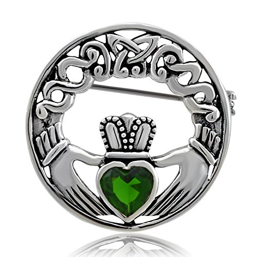 WithLoveSilver Sterling Silver 925 Charm Claddagh Celtic Iris Friendship Brooch Pin