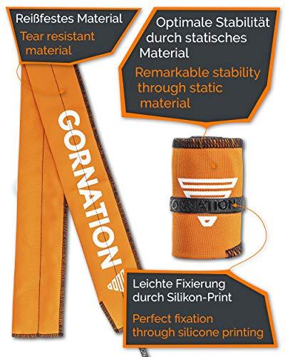 Polsini Palestra Premium - Fasce da polso professionali con etichetta in silicone per una migliore stabilità e performance delle fasciature, Ideali per la Calisthenics, Crossfit (Premium Orange)