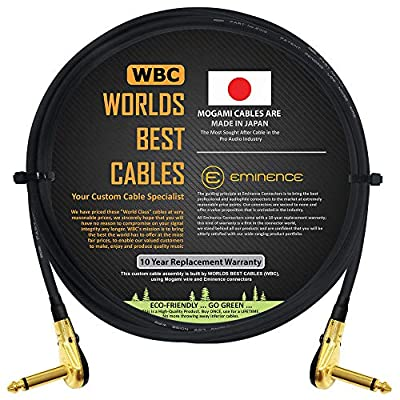 Mogami 2319-91 cm (3 Foot) -Instrument Effects Patch Cable With Gold Plated, Low-Profile, Right Angled Pancake Type TS (6.35mm) Connectors