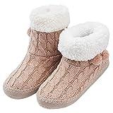 MaaMgic - Mujer Zapatillas Pantuflas Antideslizante de Invierno, como Casa Botas Extra Cálido,Dust Pink,40/41EU