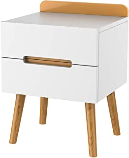 Table de Chevet en Bois Blanc avec 2 tiroirs, Table d'appoint Table de Nuit Armoire de Rangement, Facile à Assembler, pour...