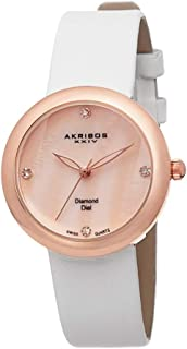 Akribos Xxiv Women's Quartz Watch, Analog Display and Leather Strap Ak687Rgw