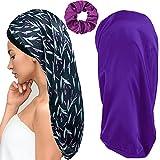 2Pcs Long Satin Bonnet Sleep Cap Big Braids Bonnets & Hairband for Women (Purple)