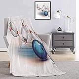 Manta de Felpa para Fiesta de Bolos Bola lanzada y alfileres dispersos Speed Hit The Target Shot Score Elección Cama y sofá Blanco Azul pálido Rojo W80 x L60 Inch