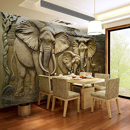 ZCLCHQ 3D Wallpaper Mural Statue & Elephant Waterproof Decoration for Kid Girl Nursery Teen Baby Bedroom Living Room W300 X H210 cm