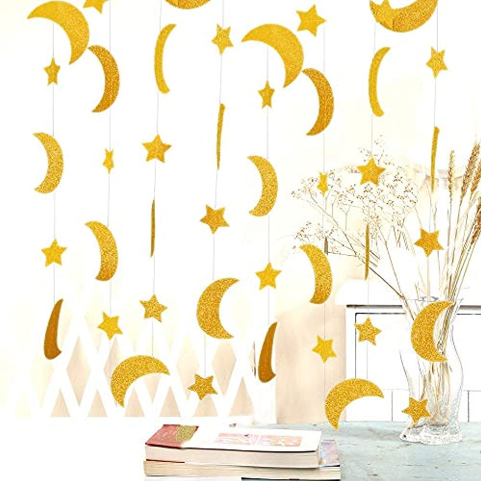 50ft Glitter Moon & Stars Garlands, 6Pack Gold Double-Side Crescent and Twinkle Stars Paper Hanging Decorations for Birthday Baby Shower Wedding Party for Nursery Kids Room Home Bedroom