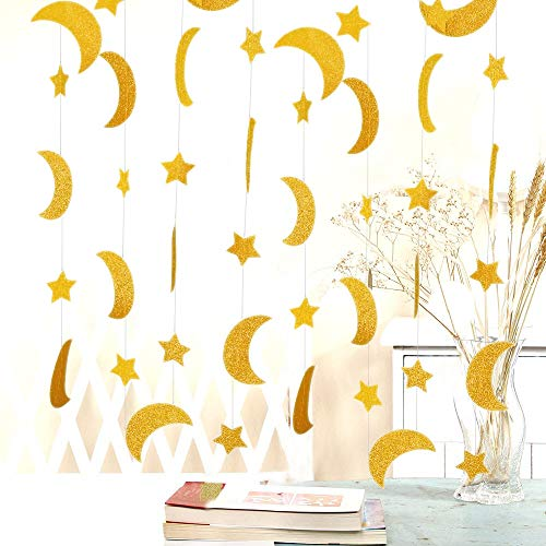 50ft Glitter Moon & Stars Garlands, 6 Pack Gold Double-Side Crescent and Twinkle Stars Paper Hanging Decorations for Birthday Party Baby Shower Engagement Wedding for Nursery Kids Room Home Bedroom