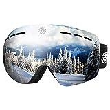 CooSpo Ski Goggles OTG Frameless Snow Snowboard Googles Interchangeable Lens Dual Lens with Anti Fog 100% UV400 Protection for Man, Women - Sliver