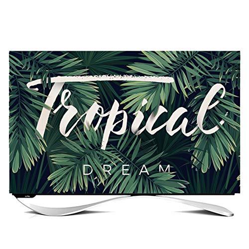 TINGTING Tv Abdeckung Bezug Aus Baumwollleinen TV Staubschutz Pflanze Drucken Monitorabdeckungen (Color : Plant2, Size : 55 inches)
