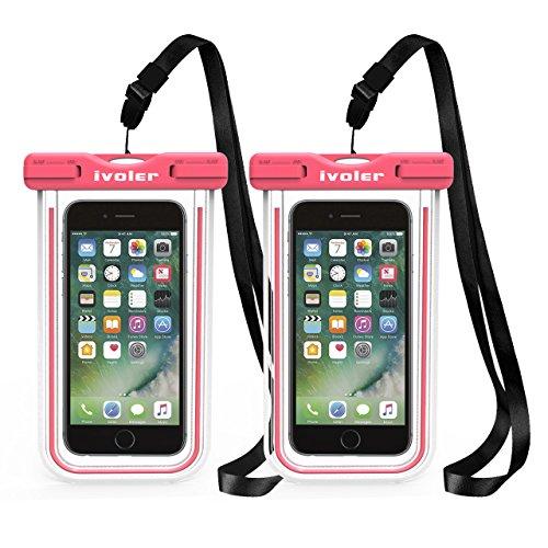 iVoler [2 Pezzi] Custodia Impermeabile Smartphone, IPX8 Borsa Impermeabile Sacchetto Impermeabile Cellulare Dry Bag Universale Waterproof Cover Case per iPhone, Samsung, Huawei, ECC. (Rosa+Rosa)