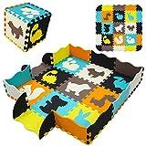 qqpp Alfombra Puzzle para Niños Bebe Infantil - Suelo de Goma EVA Suave. 9 Piezas (30*30*1cm), 16 Piezas de Valla, Animales. QQP-53b9F16