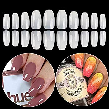 Coffin Fake Nails Tips Acrylic False Nail BTArtbox 600PCS Natural Artificial Full Cover Ballerina Nails 10 Sizes