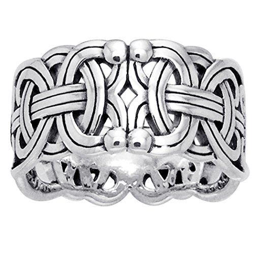 Viking Braided Wedding Band Borre Knot Norse Celtic 10mm Sterling Silver Ring Size 9(Sizes 4,5,6,7,8,9,10,11,12,13,14,15)