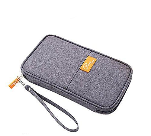パスポートケース 海外旅行グッズ パスポートポーチ スキミング防止 ネックポーチ パスポートバッグ 防水 大容量 オーガナイザー チケットケース 12ポケット搭載 旅行用品 (グレー)