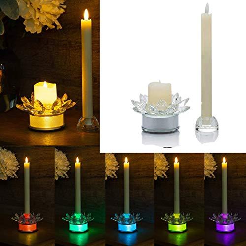LED Kerzen Set mit beleuchtetem Glas-Kerzenständer, 6 Stunden Timer, Votivkerze Stabkerze…