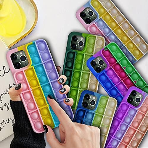 Custodia 3D in morbido silicone antistress per iPhone 7/8/Plus/10/X/XS/XR/XS Max/11/Pro/Pro Max/12/Pro/Pro Max (compatibile con Apple XR, Rainbow)