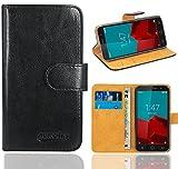 Vodafone Smart Prime 6 Handy Tasche, FoneExpert® Wallet Case Flip Cover Hüllen Etui Ledertasche Lederhülle Premium Schutzhülle für Vodafone Smart Prime 6 (Schwarz)