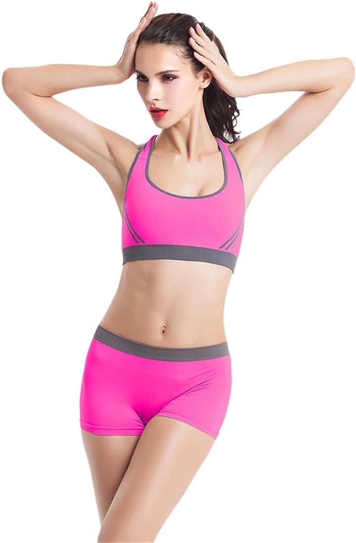 Vertvie Femme 2 Pi/èces Ensemble de Sport Soutien-Gorge Bra Yoga sans Armature Boxer Short Court pour Fitness Jogging