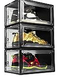 PURE RESULTZ Shoe Boxes Clear Plastic Stackable Drop Front Shoe...
