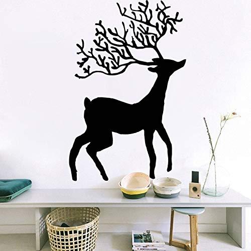 jiushivr Etiqueta de la Pared de Vinilo clásico Feliz Navidad Tatuajes de Pared para niños Dormitorio Decoración del hogar Decoración de la Ventana Animales Mural 56x88cm
