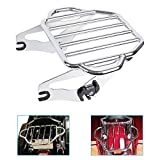 DSISIMO Chrome Detachable Two Up Luggage Rack Mounting Compatible For Touring Electra Glide Road King Street Glide Tour Pak 2009-2019