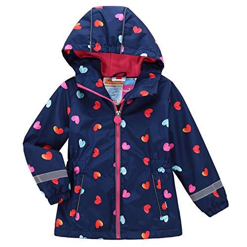 Echinodon Mädchen Gefütterte Jacke Tailliert Reflektoren Wasserabweisend Outdoorjacke Kinder Übergangsjacke Regenjacke Wanderjacke Blau