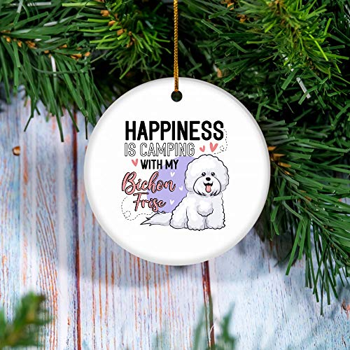 Bichon Frise Happiness is Camping with My Dog Ornament