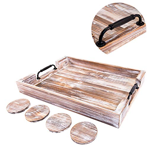 Wood Serving Tray - 20 Inch - Farmhouse Decor - Coffee Table Organizer - Bathroom Vanity - Rustic Ottoman Tray - Thick Comfortable Handles - Breakfast/Coffee/Dinner - 4 Coasters (White)