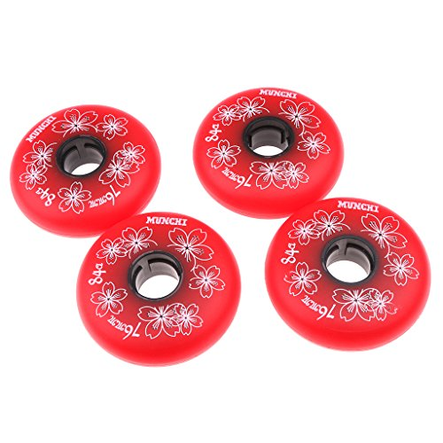 MagiDeal 4 Stücke Inline Skate Rollen Inliner Rollen Set 84A (72mm 76mm 80mm) Schwarz/Rot - Rot, 72mm