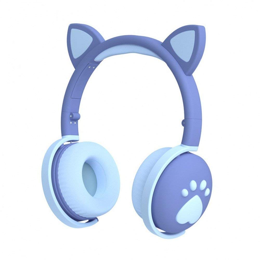 AAS Headphones Cat Ear and Paw Bluetooth 5.0 Wireless Led Glowing Lights Foldable Headsets Built-in Mic Variable Laser Cuteness Girls Boys Kids Adults Over-Ear 3.5mm Jack Aux in (Blue)