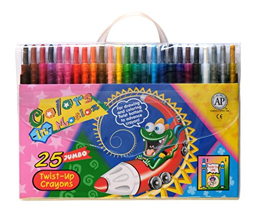 Colors-in-Motion 25 Twist-up Crayons, Colored Pencils, Kids Crayon, Adult Coloring, Professional Drawing (7 in Length)