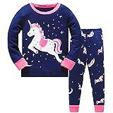 LitBud Niña Niños Pijamas de Navidad Unicornio Ropa de Dormir 2 unids Manga Larga Tops + Pantalones PJ Conjuntos para Niños Tamaño 6-7 Años 7T Navidad el Dia de Acción de Gracias Regalo