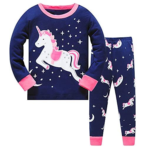 Niña pequeña Pijama de Navidad Unicornio Ropa de Dormir 2 unids Manga Larga Tops + Pantalones...