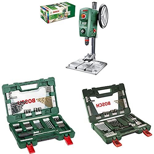 Bosch Tischbohrmaschine PBD 40 + Bosch 91tlg. Titanium-Bohrer- und Bit Set V-Line + Bosch 83tlg. V-Line Titanium-Bohrer- und Bit-Set mit LED-Taschenlampe und Rollgabelschlüssel