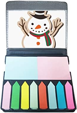 Christmas Snowman Cartoon Festival Self Stick Note Color Page Marker Box