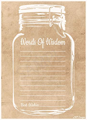 Words of Wisdom Cards | Rustic Mason Jar | Perfect for the Bride and Groom, Baby Shower, Bridal Shower, Graduate or Any Occasion 50 Ct. 4x6