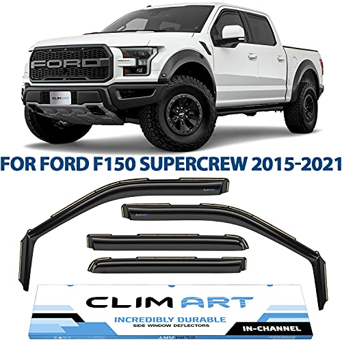 CLIM ART in-Channel Incredibly Durable Rain Guards for Ford F150 2015-2021...