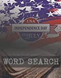 USA INDEPENDENCE DAY 4TH OF JULY WORD SEARCH: FIND THE CORRECT WORDS. SPECIAL THEME WITH AMERICA FLAG AND BOOK