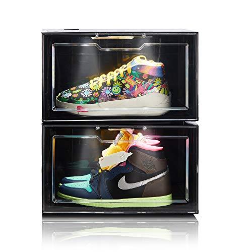 Wisboc 2 Pack Voice Control LED Sneaker Storage Boxes Drop Side Shoe Boxes Clear Plastic Stackable Shoe Organizer Display Cases for Men Women Black