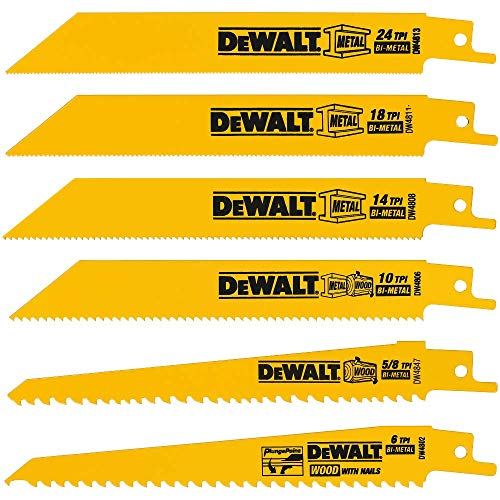 DEWALT Reciprocating Saw Blades, Metal/Wood Cutting Set, 6-Piece (DW4856)